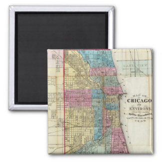 Vintage Map of Chicago (1869) 2 Inch Square Magnet