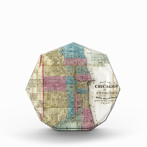 Vintage Map of Chicago (1869) Acrylic Award