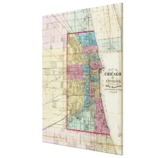 Vintage Map of Chicago (1869) Canvas Print