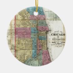 Vintage Map Of Chicago (1869) Ceramic Ornament at Zazzle