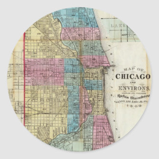 Vintage Map of Chicago (1869) Classic Round Sticker