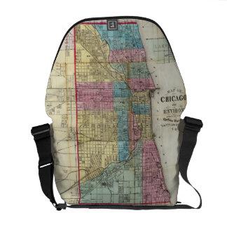 Vintage Map of Chicago (1869) Courier Bag