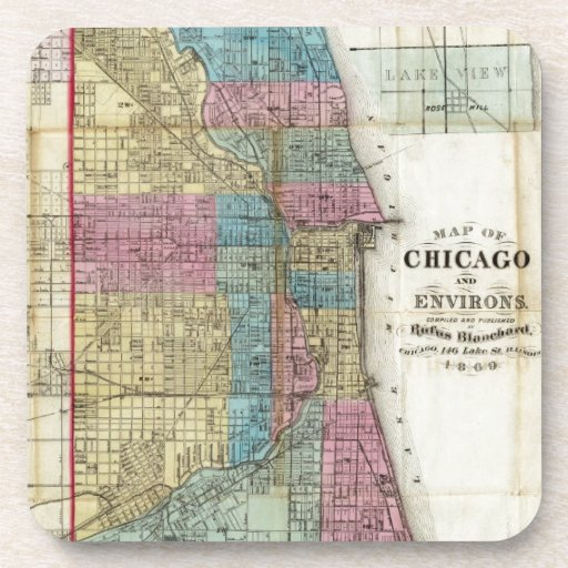 Vintage Map of Chicago (1869) Drink Coasters