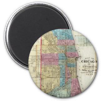 Vintage Map of Chicago (1869) Fridge Magnet