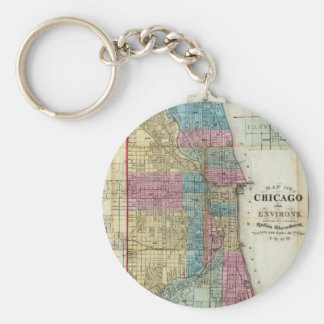 Vintage Map of Chicago 1869 Key Chains