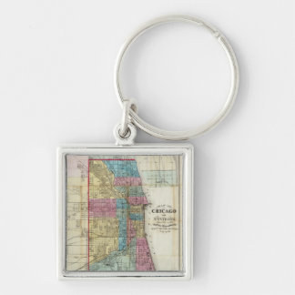 Vintage Map of Chicago 1869 Keychain