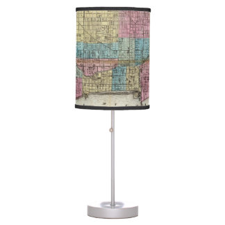 Vintage Map of Chicago (1869) Desk Lamps