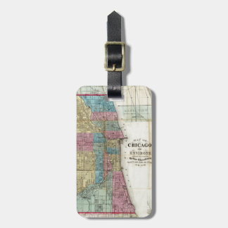 Vintage Map of Chicago (1869) Travel Bag Tag