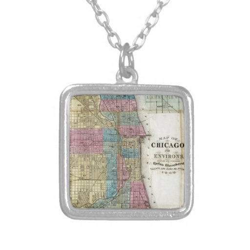 Vintage Map of Chicago (1869) Square Pendant Necklace