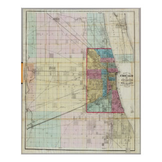 Vintage Map of Chicago (1869) Poster