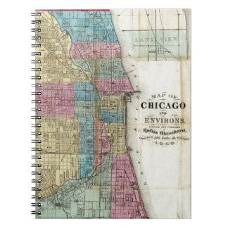 Vintage Map of Chicago (1869) Spiral Notebook