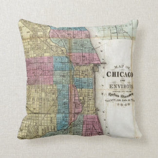 Vintage Map of Chicago (1869) Throw Pillows