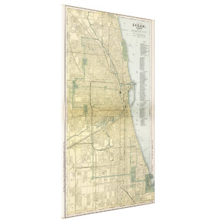 Vintage Map of Chicago (1891) Canvas Print