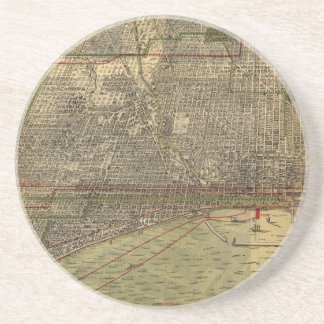 Vintage Map of Chicago (1892) Drink Coasters