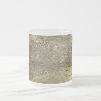 Vintage Map of Chicago (1892) Frosted Glass Coffee Mug