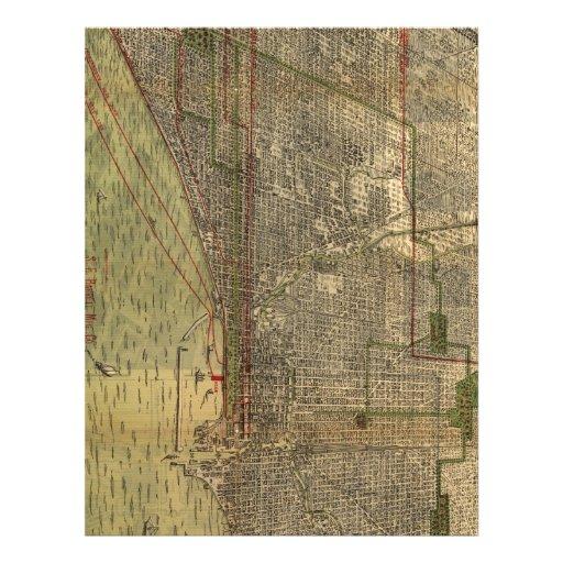 Vintage Map of Chicago (1892) Letterhead