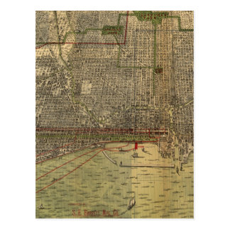Vintage Map of Chicago (1892) Postcard