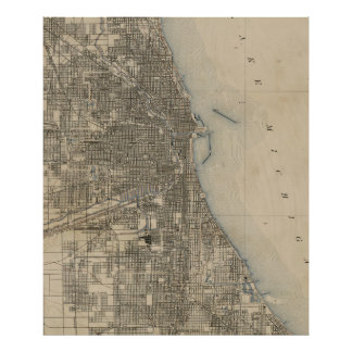 Vintage Map of Chicago (1899) Poster