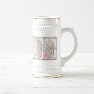 Vintage Map of Chicago and St. Louis (1855) Beer Stein
