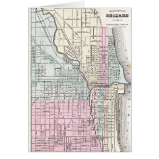 Vintage Map of Chicago and St. Louis (1855) Card