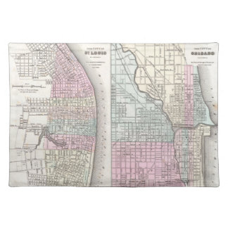 Vintage Map of Chicago and St. Louis (1855) Cloth Placemat
