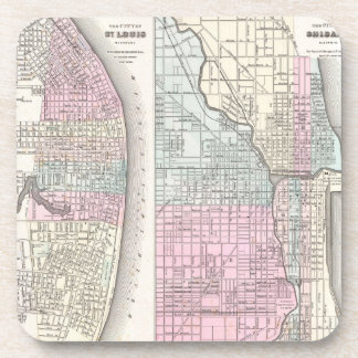 Vintage Map of Chicago and St. Louis (1855) Coaster