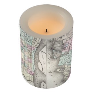 Vintage Map of Chicago and St. Louis (1855) Flameless Candle