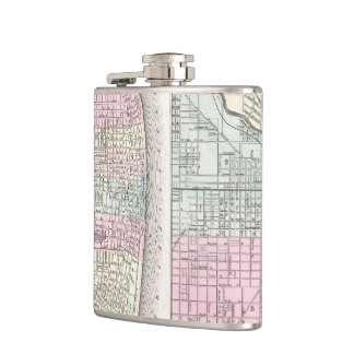 Vintage Map of Chicago and St. Louis (1855) Flask