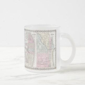 Vintage Map of Chicago and St. Louis (1855) Frosted Glass Coffee Mug