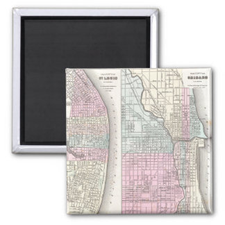Vintage Map of Chicago and St. Louis (1855) Magnets