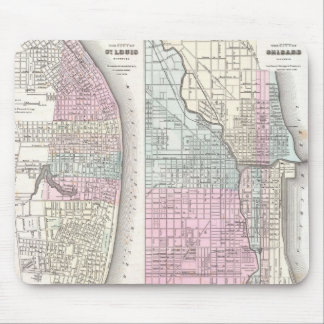 Vintage Map of Chicago and St. Louis (1855) Mouse Pad
