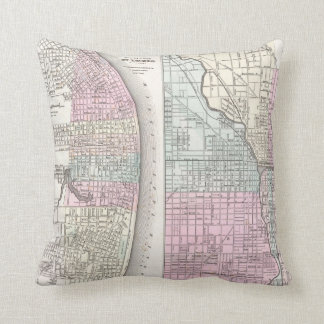 Vintage Map of Chicago and St. Louis (1855) Throw Pillows