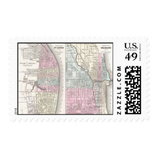 Vintage Map of Chicago and St. Louis (1855) Postage