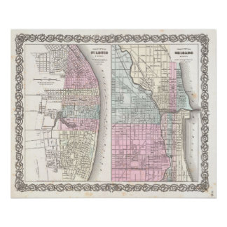 Vintage Map of Chicago and St. Louis (1855) Print