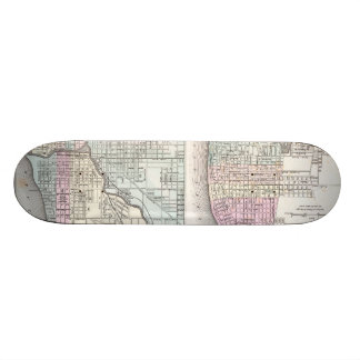 Vintage Map of Chicago and St Louis (1855) Skateboard Deck