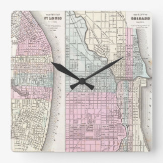 Vintage Map of Chicago and St. Louis (1855) Square Wall Clock