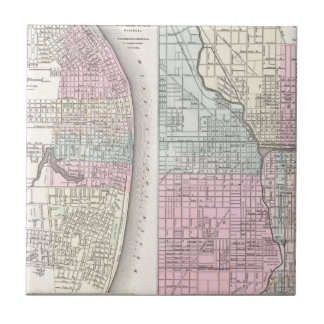 Vintage Map of Chicago and St. Louis (1855) Tile