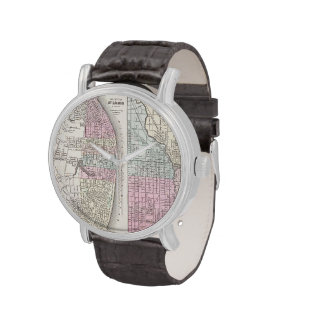 Vintage Map of Chicago and St. Louis (1855) Watch