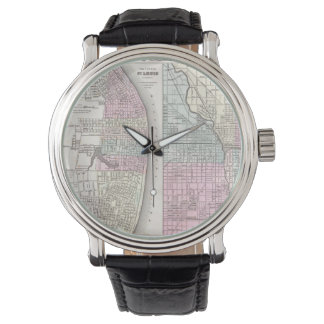 Vintage Map of Chicago and St. Louis (1855) Watches