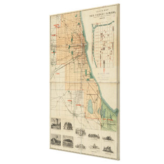 Vintage Map of Chicago Illinois (1889) Canvas Print
