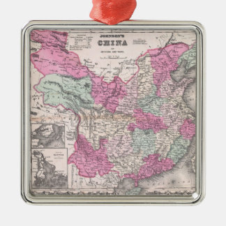 Vintage Map of China (1862) Metal Ornament
