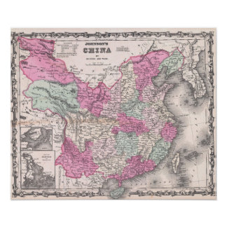 Vintage Map of China (1862) Poster