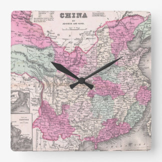 Vintage Map of China (1862) Square Wall Clock