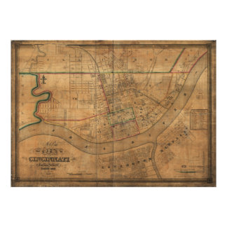 Vintage Map of Cincinnati Ohio (1838) Poster