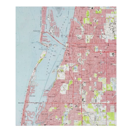 Clearwater Florida Map.Vintage Map Of Clearwater Florida 1974 Poster Zazzle Com