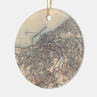 Vintage Map of Cleveland (1904) Ceramic Ornament