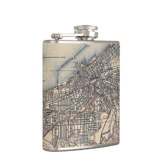 Vintage Map of Cleveland (1904) Hip Flasks