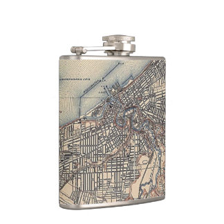 Vintage Map of Cleveland (1904) Hip Flask
