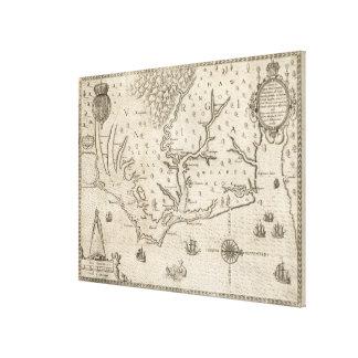 Vintage Map of Coastal North Carolina (1590) Canvas Print