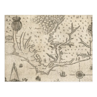 Vintage Map of Coastal North Carolina (1590) Postcard